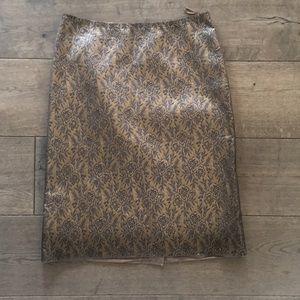 Prada gold and gret floral brocade pencil skirt